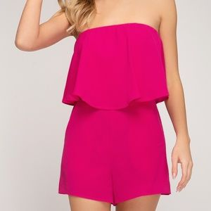 Pants & Jumpsuits - STRAPLESS LAYERED ROMPER WITH POCKETS